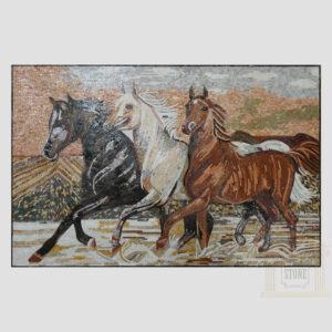 Running Horses Marble Stone Mosaic Art
