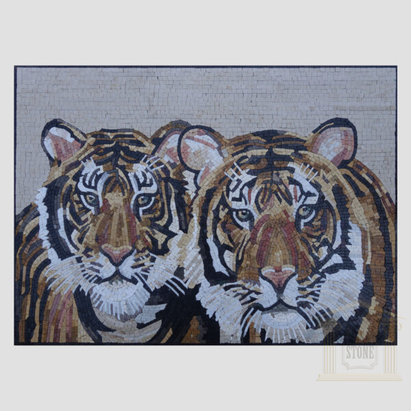The Two Tigers Marbe Stone Mosaic Art