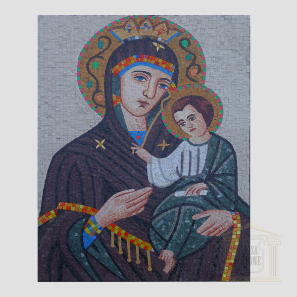 Virgin Mary and Baby Jesus Christ Marble Stone Mosaic Art