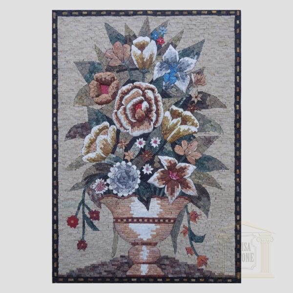 Summer Flower Pot Marble Stone Mosaic Art