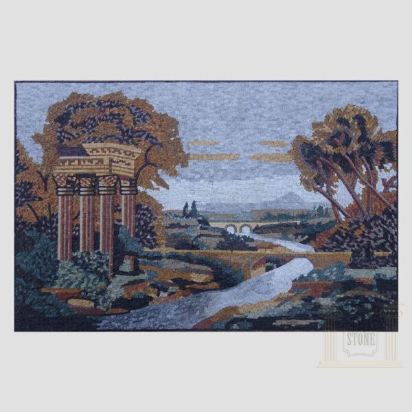 Bridge Over the River Marble Stone Mosaic Art
