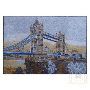 Blue Skies over The Tower Bridge Marble Stone Mosaic Art