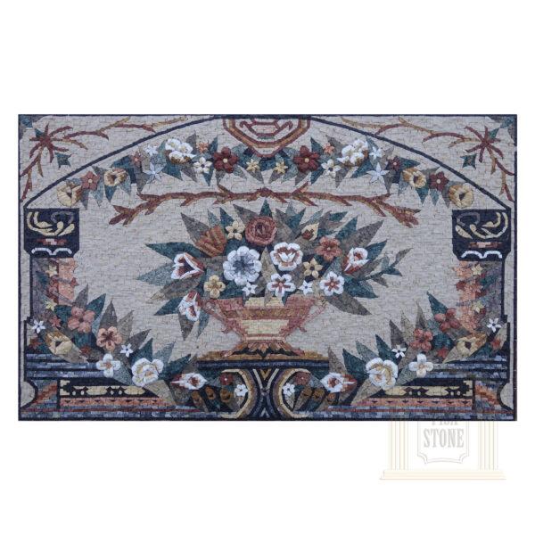 Unique Floral Rectangular Mosaic Rug