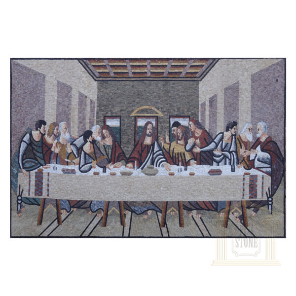 The Last Supper in Grey Marble Stone Mosaic Art