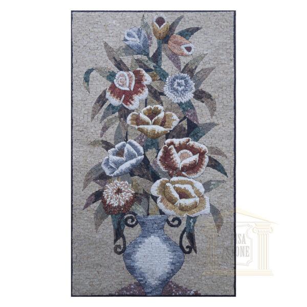 Summer Roses Vase Marble Stone Mosaic Art