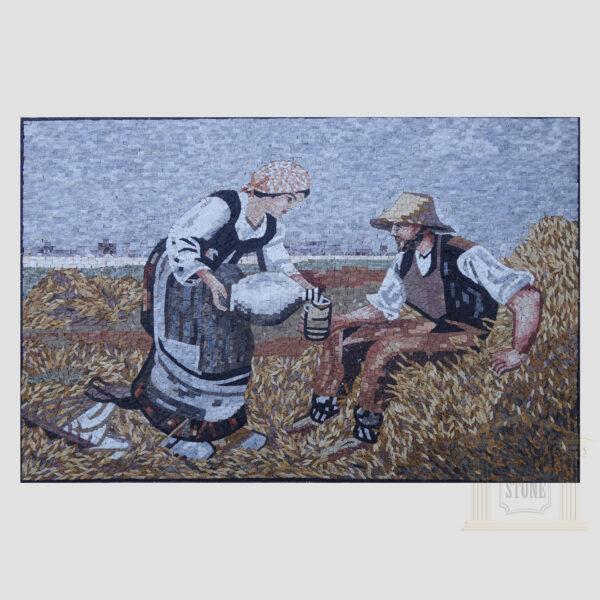 Weary farmer Marble Stone Mosaic Art