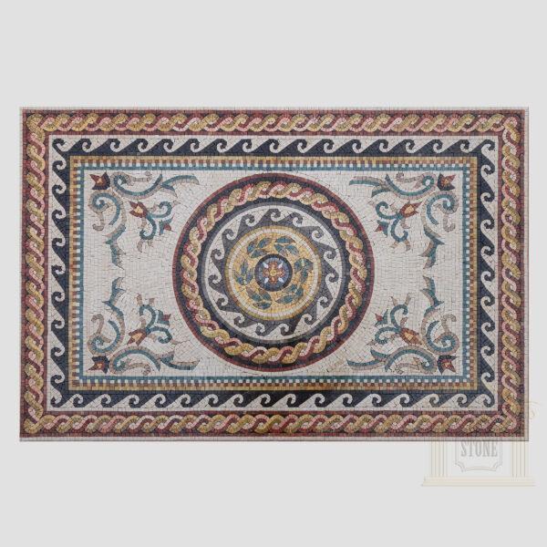 Ornamented Rectangular Rug Marble Stone Mosaic Art