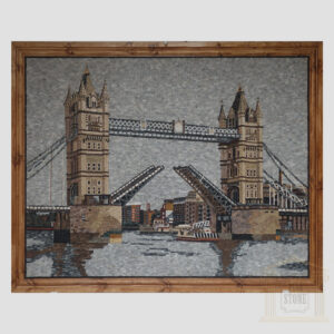 Boat Under The Tower Bridge Marble Stone Mosaic Art