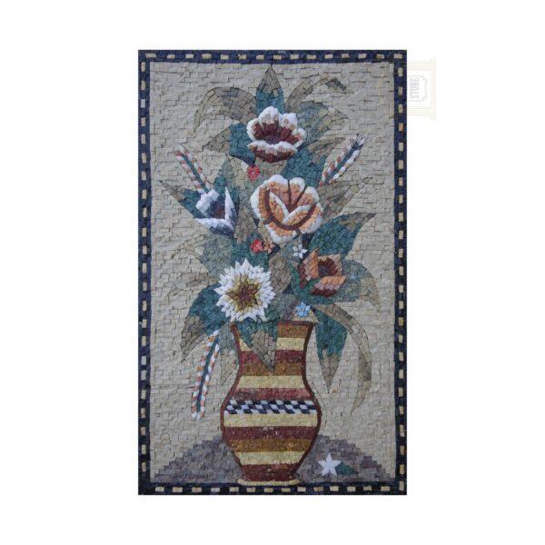 Stripey Vase Marble Stone Mosaic Art