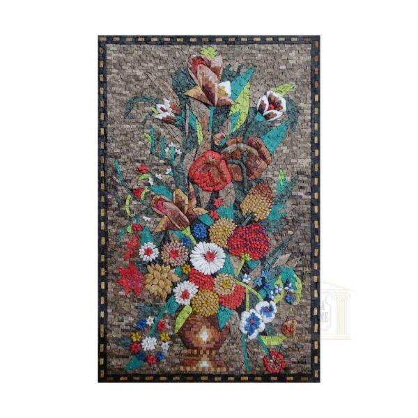 Rainbow coloured Flower Vase Marble Stone Mosaic Art