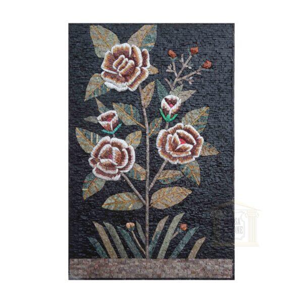 Dark Night Flower Marble Stone Mosaic Art
