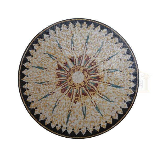 Style 4 Circular Ornamented Marble Stone Mosaic Art