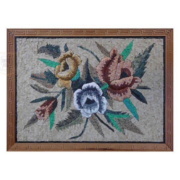 Three Flowers Three Directions Marble Stone Mosaic Art