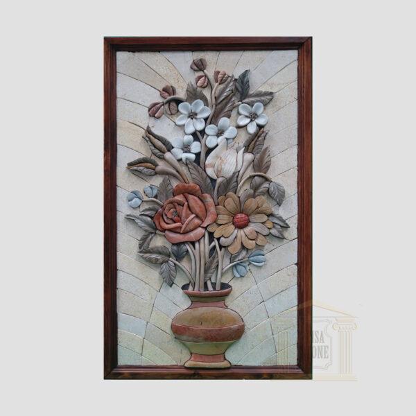 3D Flower Pot, Natural Stone Mosaic Art