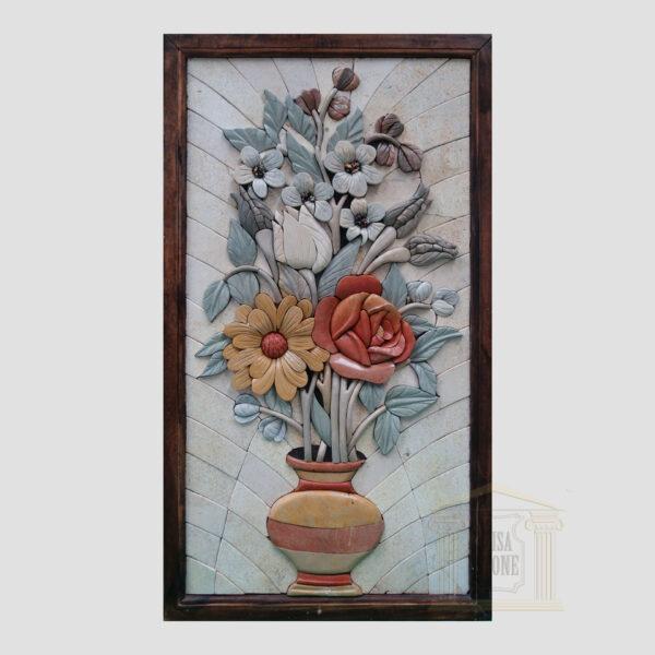 Blue leaves 3D Flower Vase Marble Stone Mosaic Art