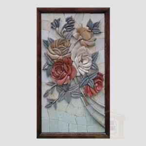 3D Left Flower Swirl Marble Stone Mosaic Art