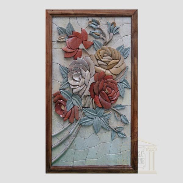 3D Right Flower Swirl Marble Stone Mosaic Art