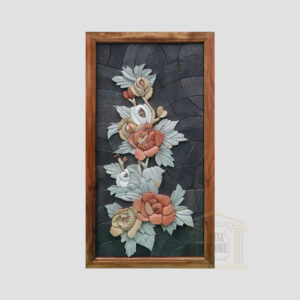 3D Branch of Flowers, Black background Marble Stone Mosaic Art