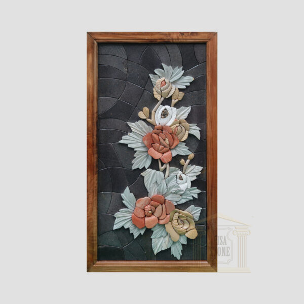 3D Left Branch of Flowers, Black background Marble Stone Mosaic Art