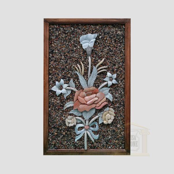 3D Flower bouquet Glittery background Marble Stone Mosaic Art