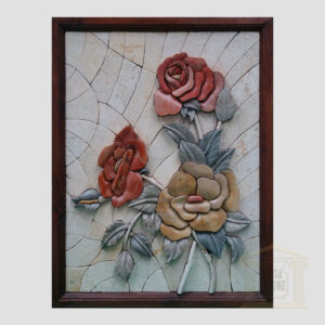 3D Flowers, White background Marble Stone Mosaic
