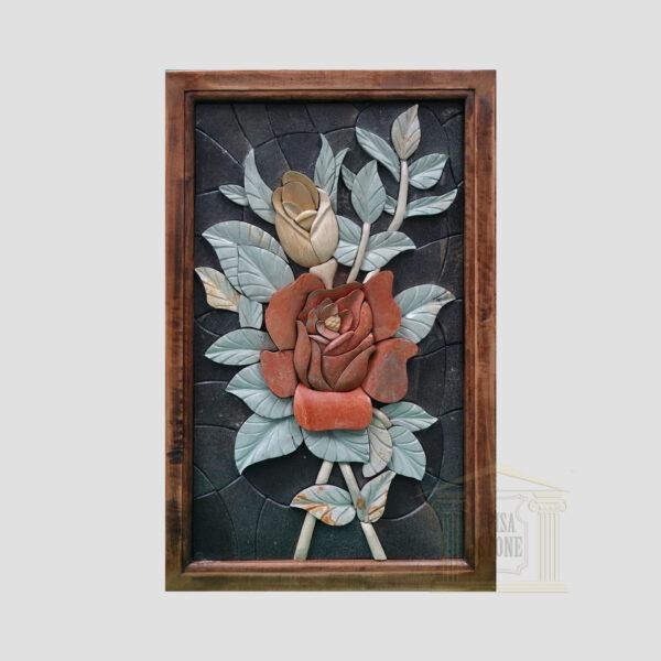 3D Rosa Damascena, Black background Marble Stone Mosaic Art