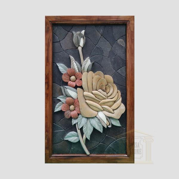 3D Yellow Floribunda Stone Rose, Black background Marble Stone Mosaic Art
