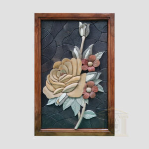 3D Large Yellow Floribunda Stone Rose, Black background Marble Stone Mosaic Art