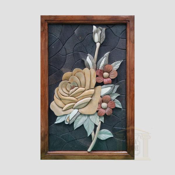 3D Large Yellow Floribunda Stone Rose, Black background Marble Stone Mosaic Art