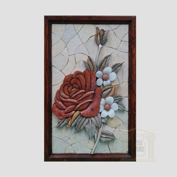 3D Red Floribunda Stone Rose, White background Marble Stone Mosaic Art