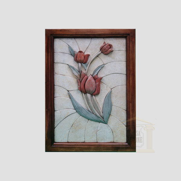 Left Classic 3D Rose Marble Stone Mosaic Art