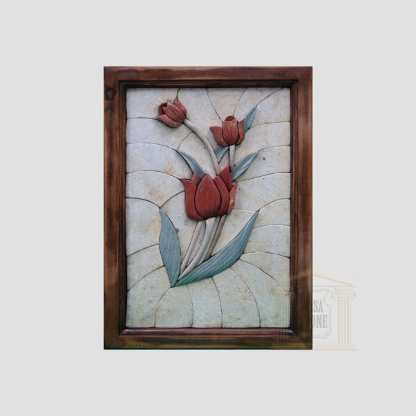 Right Classic 3D Rose Marble Stone Mosaic Art