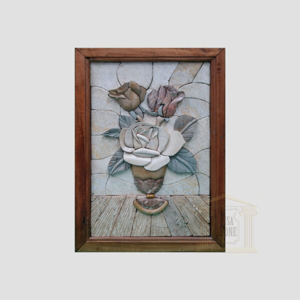 Simple 3D Candle of Flowers Marble Stone Mosaic Art