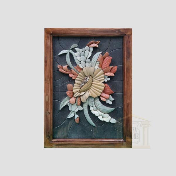 3D Flower Bouquet Marble Stone Mosaic Art