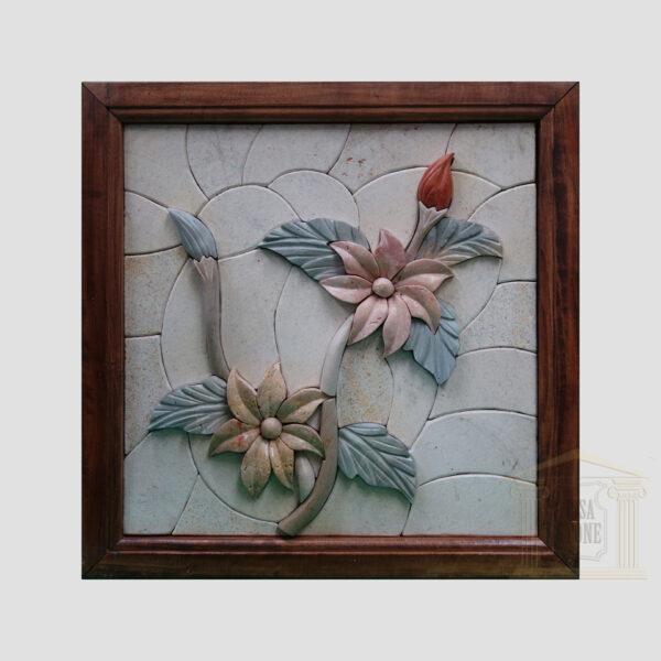Elegant 3D Flower Marble Stone Mosaic Art