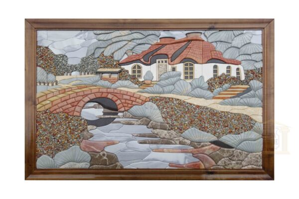 3D Grandfather cottage Marble Stone Mosaic Art