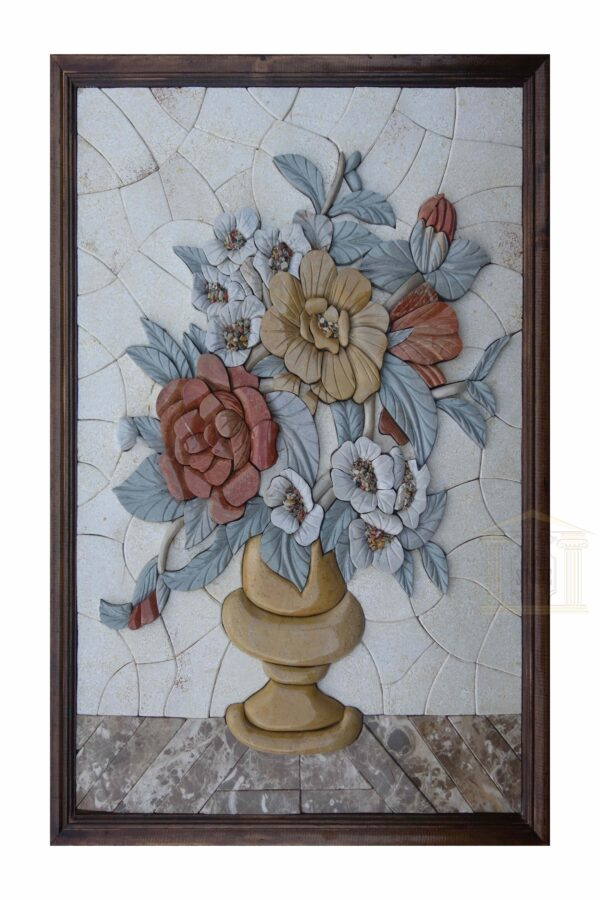 3D Marble Flower Vase Mosaic Art