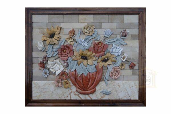 3D Wild roses vase Mosaic Art