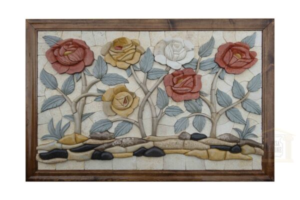 Red, Yellow, and White Flowers 3D Mosaic Art