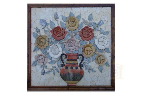 Firey Flower Vase 3D Mosaic Art