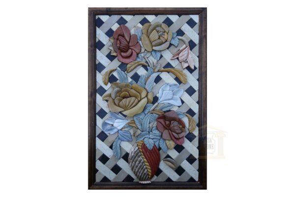 Patterned Flour Vase 3D Marble Stone Mosaic Art