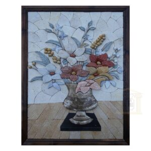 3D Clear Flower Vase Marble Stone Mosaic Art