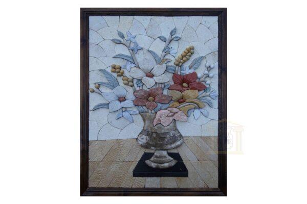 3D Clear Flower Vase Marble Stone Mosaic Art