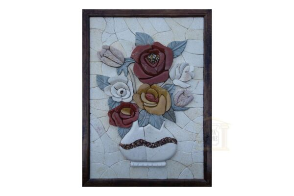 Briar rose, White vase 3D Mosaic Art