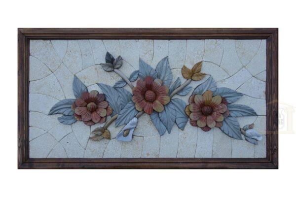 The Three Alone flowers 3D Mosaic Art