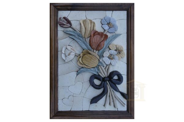 Right Ribbon of Flowers 3D Marble Stone Mosaic Art