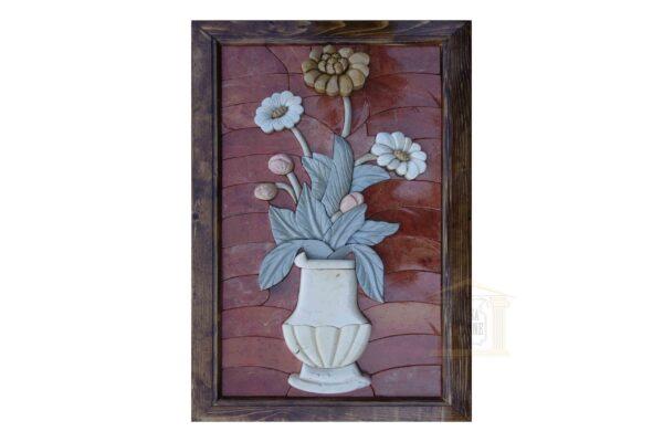 Red Background, White Flower Vase 3D Mosaic Art