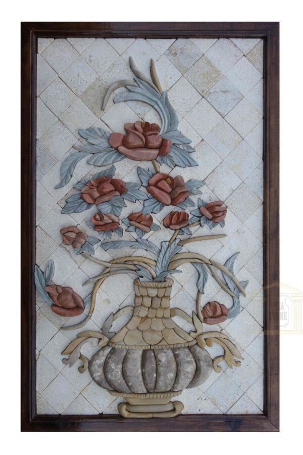 Red Rosa Damascena Bouquet in a Royal Vase 3D Mosaic Art
