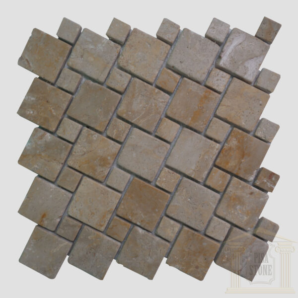 Crema Marfil Brushed Antique Limestone Mosaic Tiles