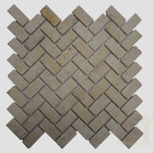 Brushed Antique finish light yellow limestone Mosaic wall tiles